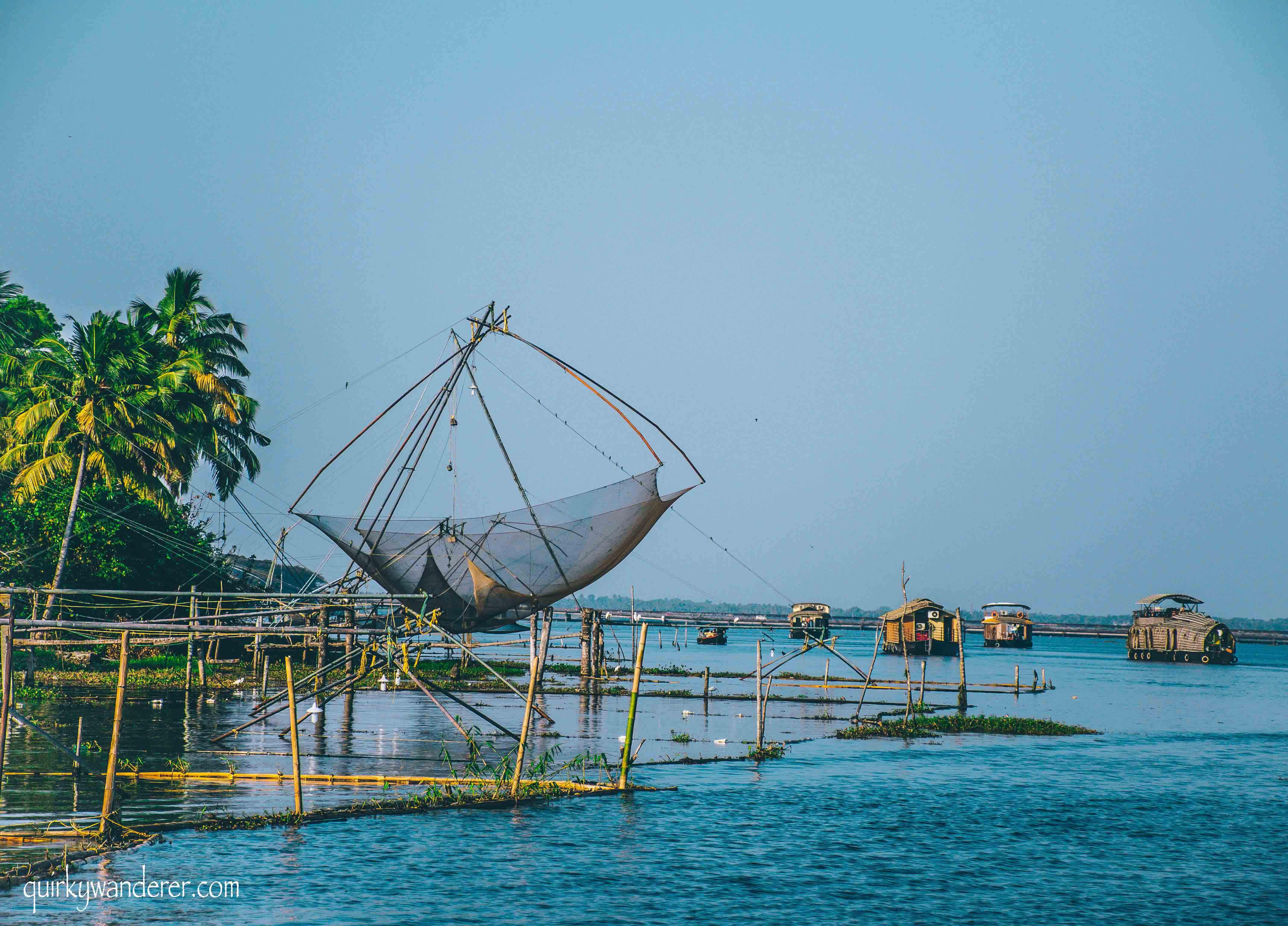 chinese fishing nets and houseboats