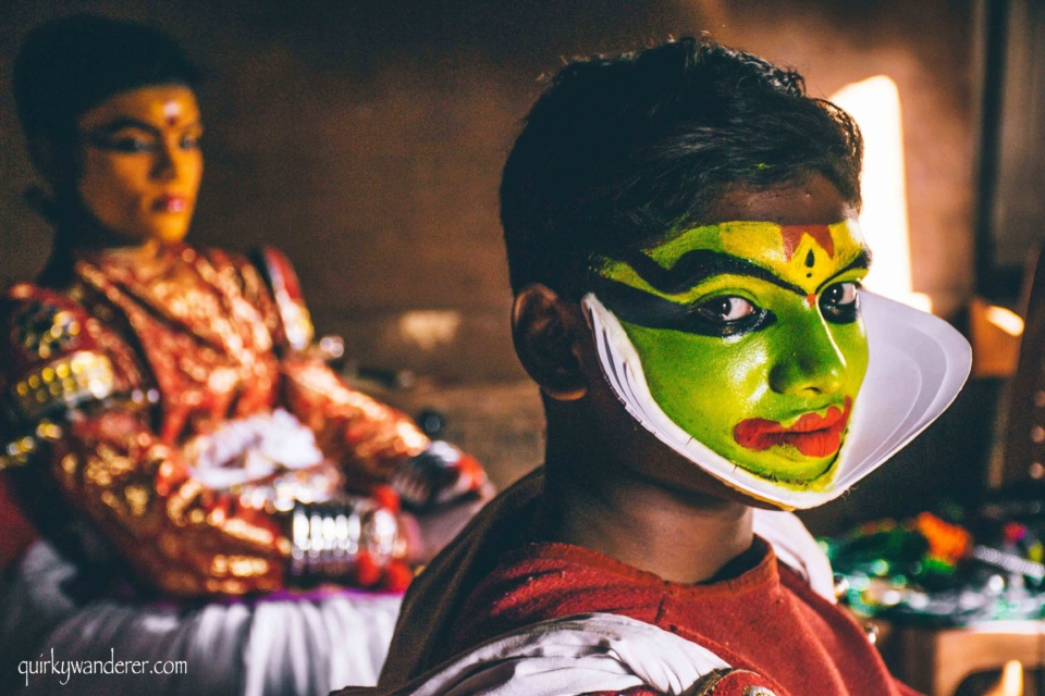 Kathakali dancers make up