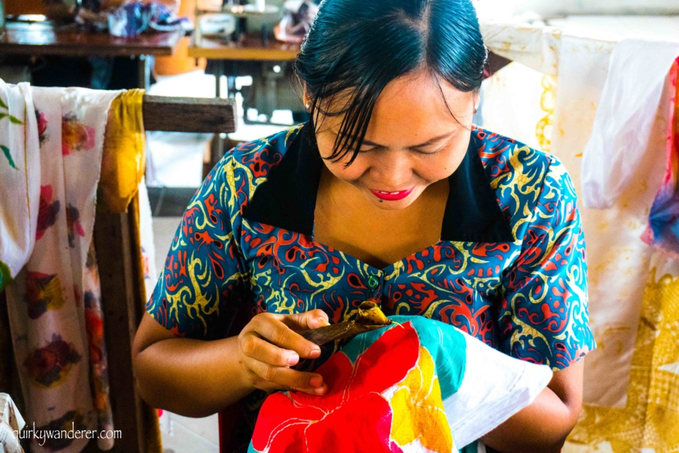 Batik painting process in Bali