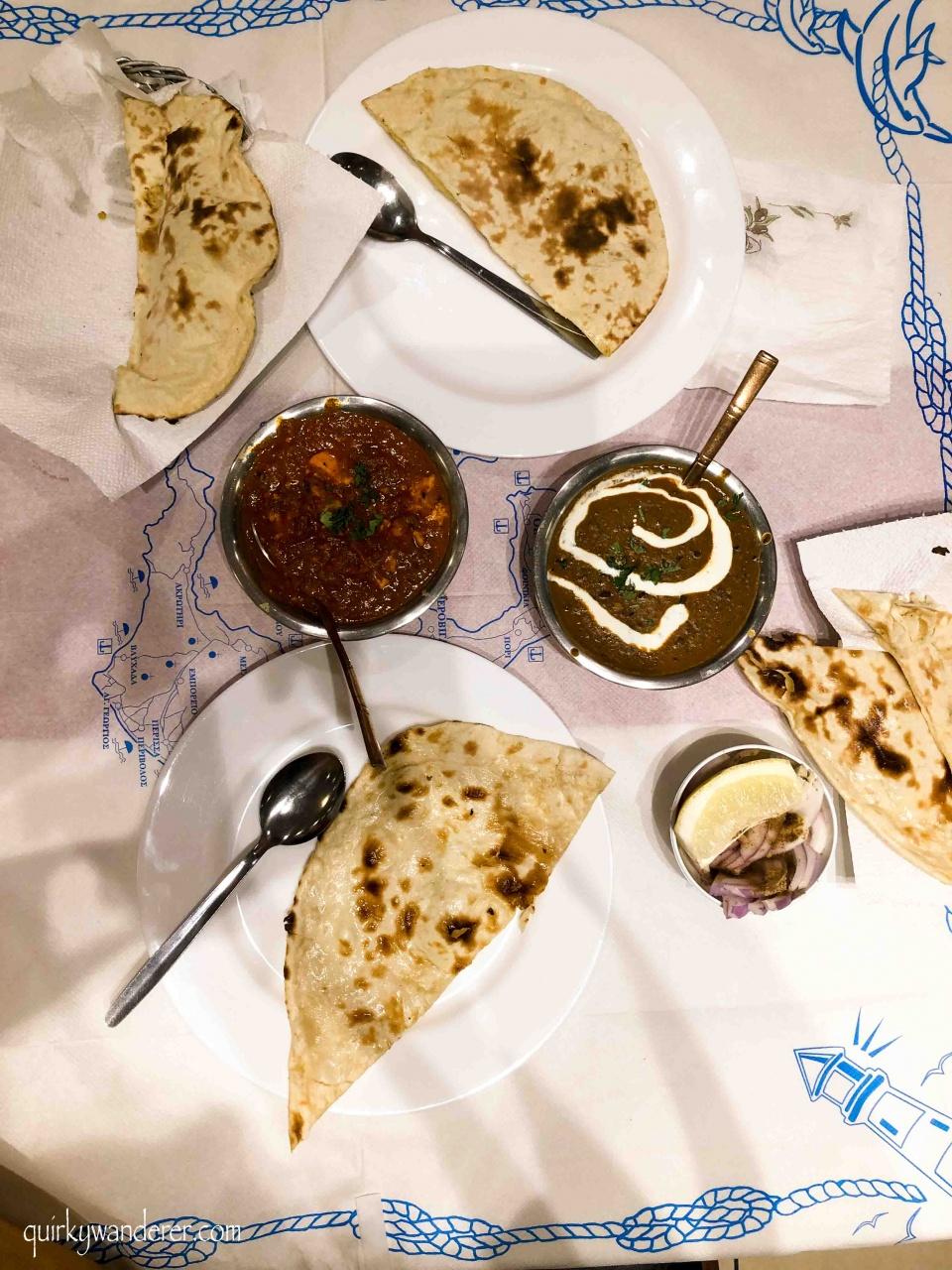 Vegetarian Indian food in Santorini Jaipur Palace